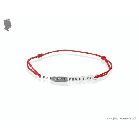 Bracelet plaque fine en argent massif inscription Papa My Super Hero cordon coton coloré  Joaillier Jerome de Stefano Paris
