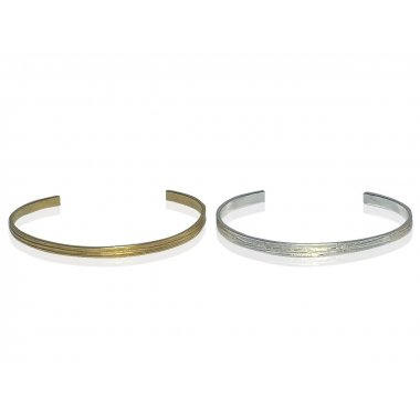 Set Bracelets joncs plats Little Bangle Wood en Argent massif et Vermeil jaune (largueur : 3mm - Epaisseur: 1,5mm)