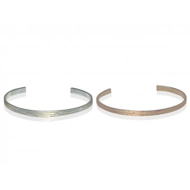 Set 2 Bracelets joncs plats Little Bangle Wood en Argent massif et Vermeil rose (largueur : 3mm - Epaisseur: 1,5mm)