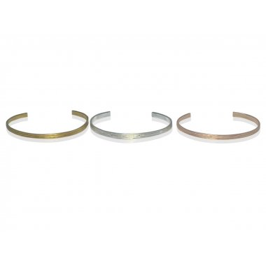 Set Bracelets joncs plats Little Bangle Wood Argent massif Vermeil Or Vermeil rose (largueur : 3mm - Epaisseur: 1,5mm)