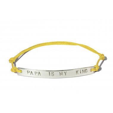 Bracelet plaque argent massif message Papa is my king sur cordon coloré